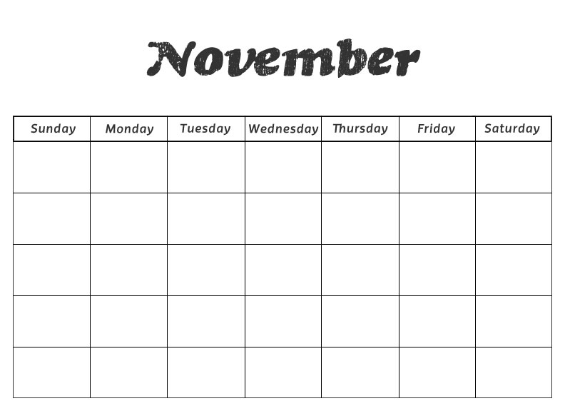 Blank November Calendar Geccetackletarts